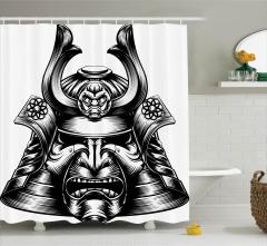 Samuray Kaskı Temalı Duş Perdesi Siyah Maske Japon