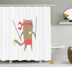 Samuray Kedi Temalı Duş Perdesi Bej Pembe Kılıç