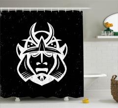 Samuray Temalı Duş Perdesi Siyah Beyaz Japon Zırh