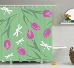 Çiçek Desenli Duş Perdesi Laleler Yusufçuk Yeşil