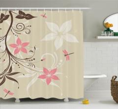 Kahverengi Duş Perdesi Pembe Çiçekler Bahar Temalı