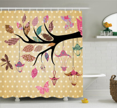 Kahverengi Duş Perdesi Çiçeklenmiş Dal Modern Sanat