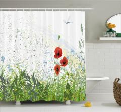 Gelincik Çiçeği Desenli Duş Perdesi Yusufçuk Bahar