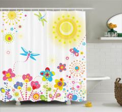 Çocuklar için Duş Perdesi Yusufçuk Güneş Çiçekler