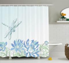 Su Zambakları Desenli Duş Perdesi Yusufçuk Çiçekler