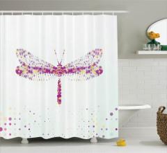 Yusufçuk Deseni Duş Perdesi Şık Tasarım Modern Sanat
