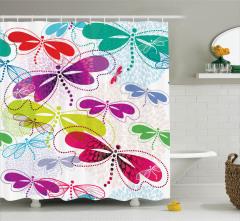 Renkli Kelebek Desenli Duş Perdesi Çiçekler Yusufçuk