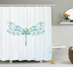 Yusufçuk Desenli Duş Perdesi Modern Sanat Tasarım