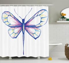 Kelebek Desenli Duş Perdesi Pastel Renkler Şık Beyaz