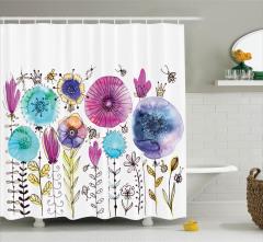 Çiçek Desenli Duş Perdesi Suluboya Etkili Bahar