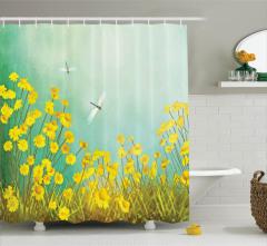 Bahar Temalı Duş Perdesi Papatyalar Yusufçuklar Sarı