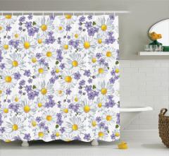 BaharTemalı Duş Perdesi Beyaz Papatya Mor Çiçek