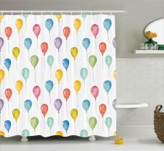 Çocuklar için Duş Perdesi Rengarenk Balon Beyaz