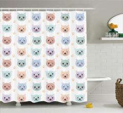 Çocuklar için Duş Perdesi Rengarenk Sevimli Kedi