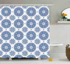 Mavi Mandala Desenli Duş Perdesi Beyaz Dantel