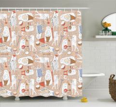 Çocuklar için Duş Perdesi Kedi Desenli Somon Renkli