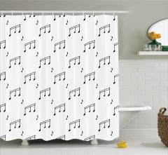 Müzik Severler için Duş Perdesi Melodi Siyah Beyaz