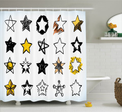 Yıldız Desenli Duş Perdesi Beyaz Sarı Siyah Trend