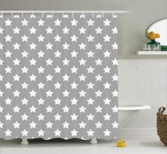 Beyaz Yıldız Desenli Duş Perdesi Gri Şık Tasarım