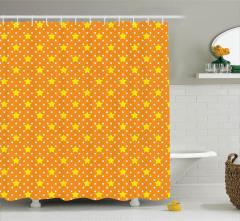 Yıldız Desenli Duş Perdesi Turuncu Sarı Şık Tasarım