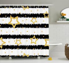 Yıldız Desenli Duş Perdesi Siyah Sarı Altın Çizgili