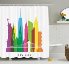 Rengarenk Gökdelen Desenli Duş Perdesi ABD Temalı