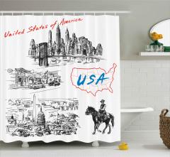 Amerika Temalı Duş Perdesi Siyah Beyaz Kırmızı At