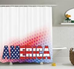Amerika Temalı Duş Perdesi Kırmızı Yıldız Lacivert