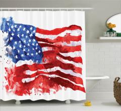 ABD Bayrağı Temalı Duş Perdesi Kırmızı Lacivert