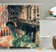 New York Temalı Duş Perdesi Sarı Turuncu Amerika