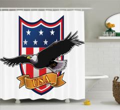 Kartal Desenli Duş Perdesi ABD Bayrak Kırmızı Siyah