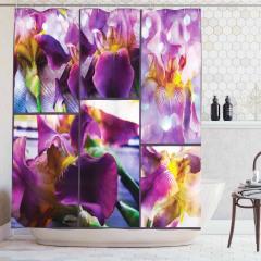 Çiçek Desenli Duş Perdesi Mor Şık Tasarım Çeyizlik
