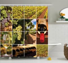 Şarap Temalı Duş Perdesi Üzüm Kırmızı Şişe Kadeh