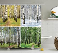 Dört Mevsim Temalı Duş Perdesi Ağaç Yeşil Doğa