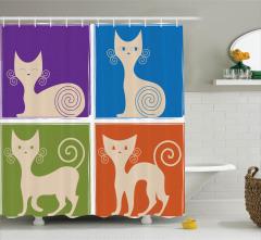 Çocuklar için Duş Perdesi Sevimli Kedi Rengarenk