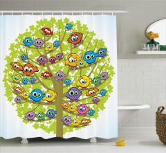 Çocuklar için Duş Perdesi Rengarenk Sevimli Baykuş