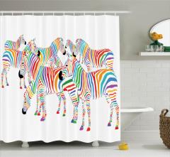 Çocuklar için Duş Perdesi Rengarenk Sevimli Zebra