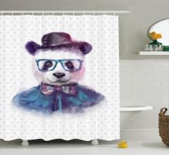 Çocuklar için Duş Perdesi Sevimli Gözlüklü Panda