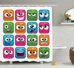 Çocuklar için Duş Perdesi Rengarenk Emoji Mavi Pembe