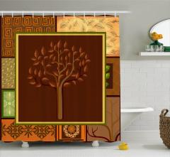 Kahverengi Duş Perdesi Afrika Etnik Desenli Bej