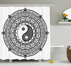 Yin Yang Desenli Duş Perdesi Siyah Beyaz Meditasyon