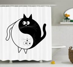 Kedi Desenli Duş Perdesi Yin Yang Siyah Beyaz Sembol
