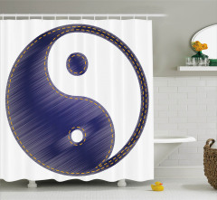 Lacivert Yin Yang Desenli Duş Perdesi Uzak Doğu
