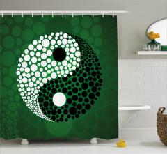 Yeşil Fon Yin Yang Desenli Duş Perdesi Siyah Beyaz