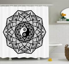 Çiçekli Yin Yang Desenli Duş Perdesi Şık Tasarım