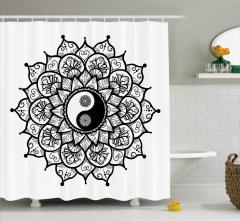 Yin Yang ve Çiçek Desenli Duş Perdesi Şık Tasarım