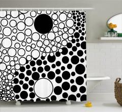 Siyah Beyaz Dairesel Desenli Duş Perdesi Şık Tasarım