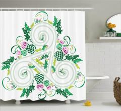 Çiçek ve Geometrik Desenli Duş Perdesi Yeşil ve Mavi
