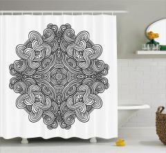 Siyah Beyaz Geometrik Desenli Duş Perdesi Modern
