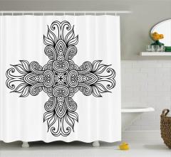 Geometrik Çiçekli Haç Desenli Duş Perdesi Dekoratif